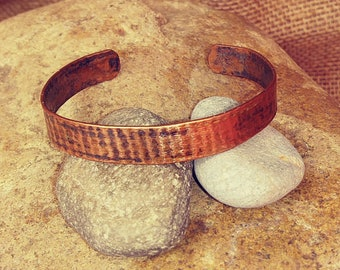 Distressed Textured Copper Cuff Bracelet