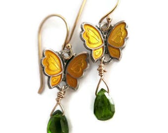 ONE pair Pearl Butterfly earrings Sterling,enamel Vintage chrome diopside. gemstone Scandinavian topaz Meka