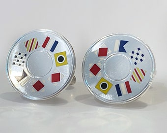 Vintage Tiffany & Co. Cuff links. Nautical, signal flags. Sterling enamel. Signed.
