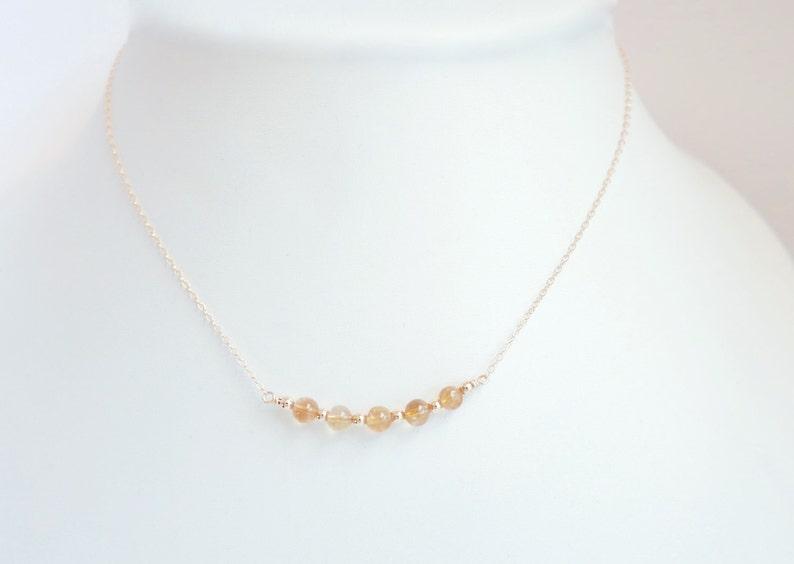 Genuine 6mm citrine gemstone beads. Citrine bar necklace 14k gold filled