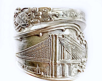 Vintage, Tiffany & Co. Brooklyn Bridge spoon ring. 925 Sterling silver. Early 1900's. Authentic. Heavy!