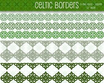 Celtic Borders, Celtic Clip Art, PNG Borders, Digital Borders, Celtic Digital Borders, Digital Scrapbooking, Digital Downloads, Clip Art