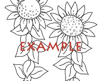 Digi Stamps Line Art Sunflowers Coloring Page Instant Download Digital PDF Printables