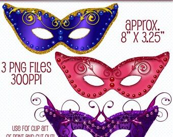 mask digital clipart glitter masks clip art masquerade masks etsy