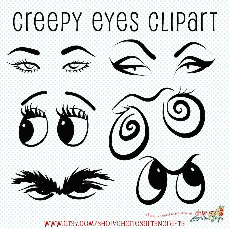 Creepy Eyes Clip Art Halloween Clip Art Eyes Clipart Creepy Etsy