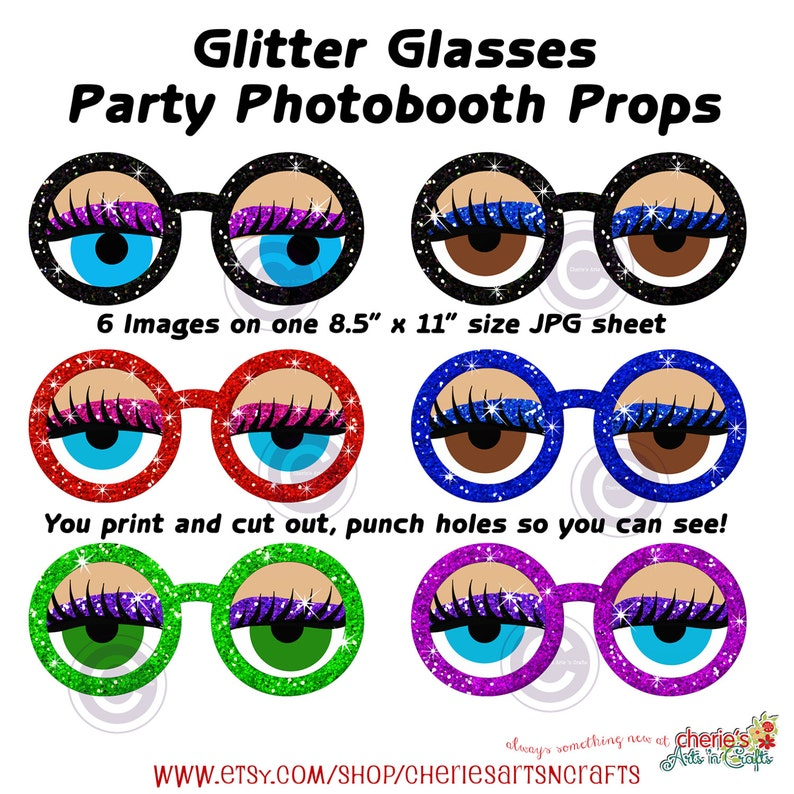Party Photo Booth Props Party Printables Glitter Glasses Photo Booth Props,You Print and Cut Photo Booth Props Digital Download Props