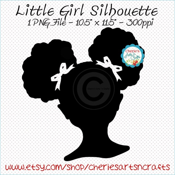 afro puffs clip art african american girl silhouette etsy