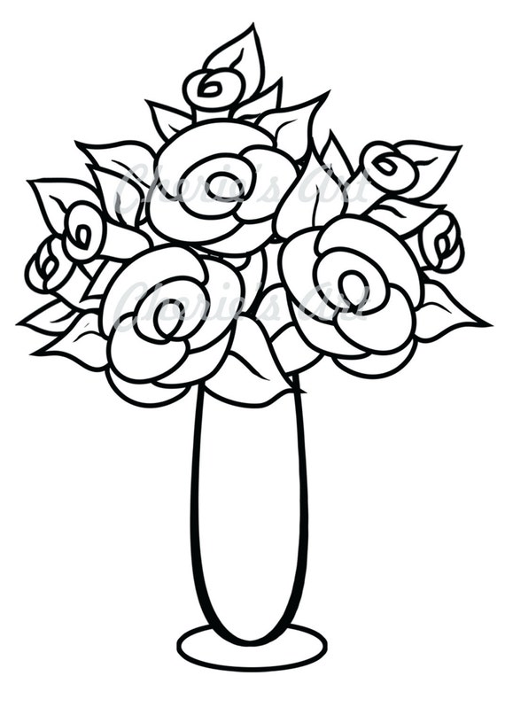 Line Art Flower Vase Digi Stamp Digi Stamp Digital Etsy