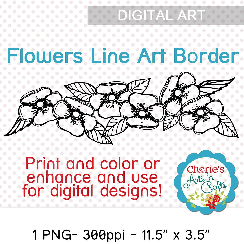 Big flowers line art border floral clip art digital borders designer resources coloring pages line art digital illustrations