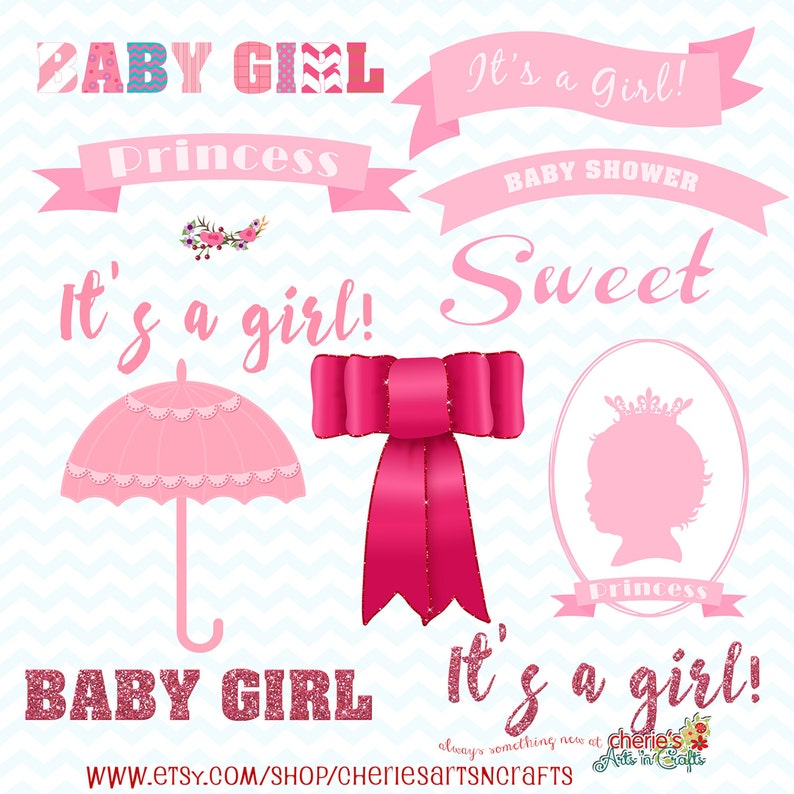 Pink Baby Shower Clip Art Pack Baby Girl Clipart Baby Shower Etsy
