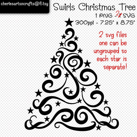 Swirls Christmas Tree Svg And Png Digital Files Christmas Clip Art Cutting File Christmas Cut File Christmas Tree Clip Art Clipart