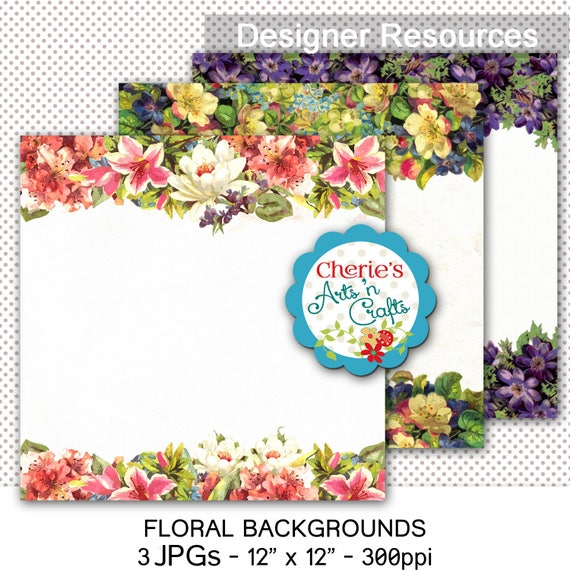 Vintage Flowers Borders Watercolor Digital Backgrounds Etsy