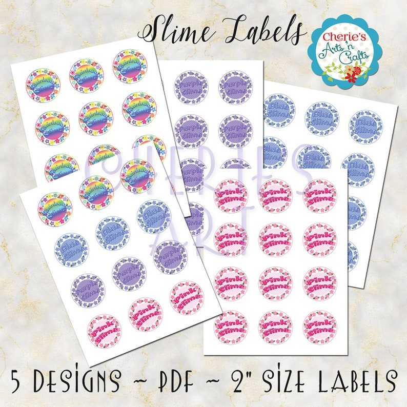 Slime Labels You Print At Home 2 Inch Circles Template For Etsy