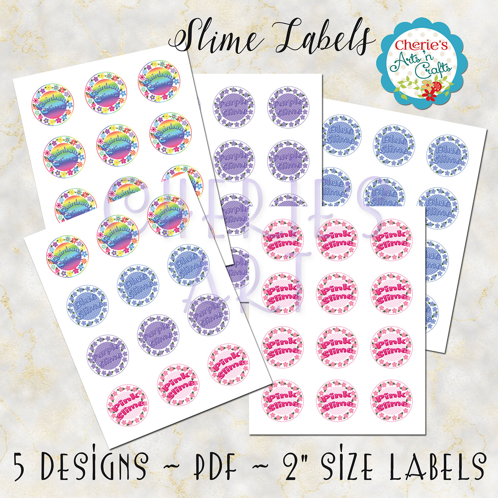 Slime Labels You Print At Home 2 Inch Circles Template for | Etsy