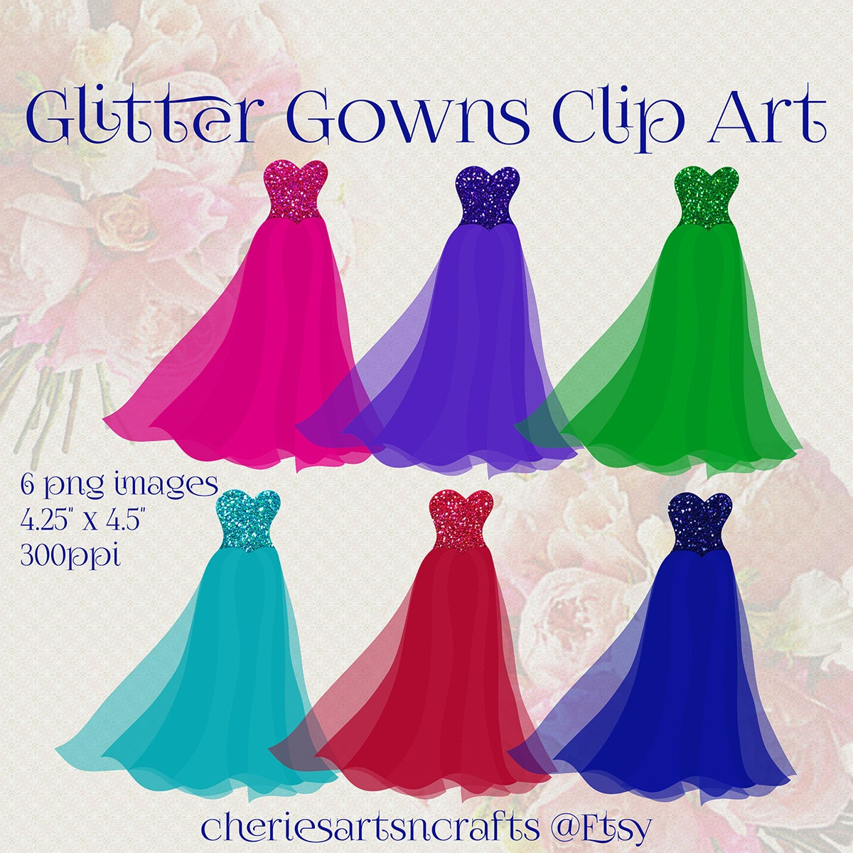 Glitter Gowns Clip Art Set of 6 PNG Images Quinceanera | Etsy