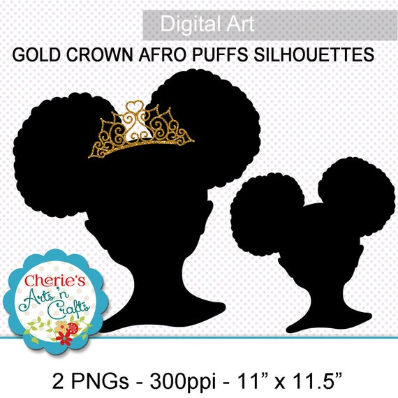 Remarkable Afro Puffs Little Girl With Gold Crown Silhouette Png Images Etsy Natural Hairstyles Runnerswayorg