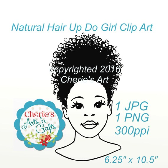 Natural Hair Up Do Girl Clip Art Hairstyles Clipart Etsy