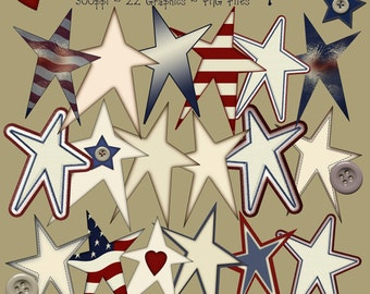 Instant Download Prim Stars Graphics Country Folk Art Primitive Clip
