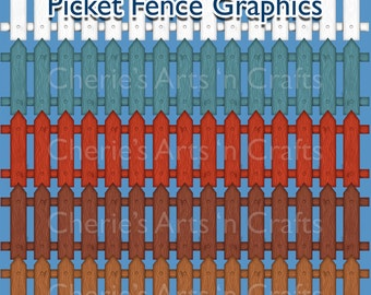 Instant Download Picket Fence Graphics, Prim Graphics, Country Folk Art Graphics, Fence Clip Art
