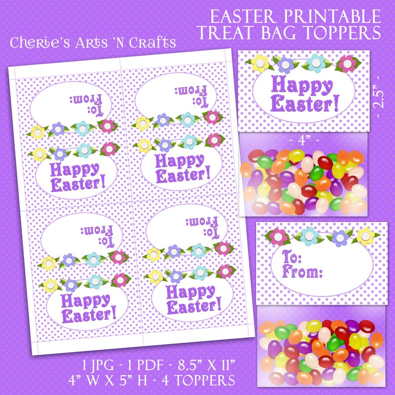 photo regarding All About Me Bag Printable referred to as Easter Deal with Bag Toppers Printable Template Common Dimensions 8.5\
