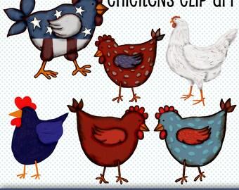 Chicken Clip Art, Chickens Graphics, Chickens Illustrations, Digital Download Clip Art Chickens, Digital Scrapbooking, Birds Clip Art, Art