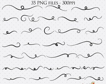 35 Swashes Clip Art | Decorative Font Flourishes | PNG Files |