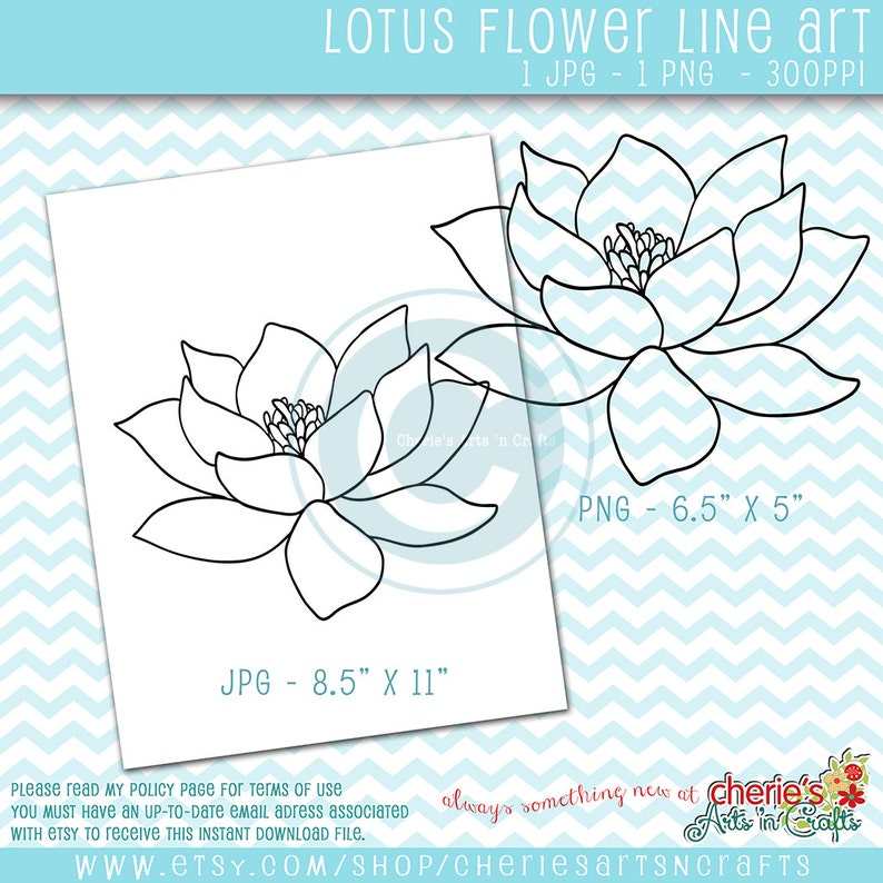 Lotus Flower Digi Stamp Png And Jpg Files Lotus Flower Etsy
