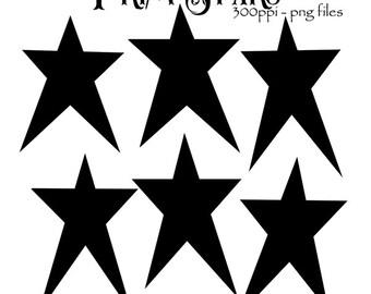 Prim Stars Clipart Primitive Style Graphics Silhouettes PNG