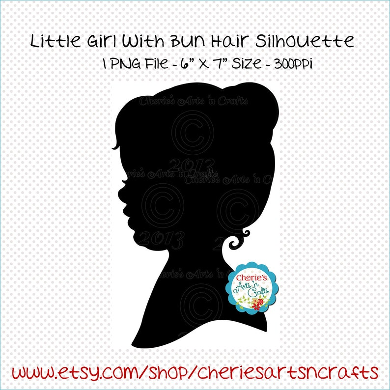 Little Girl With Bun Hairstyle Silhouette Digital Etsy