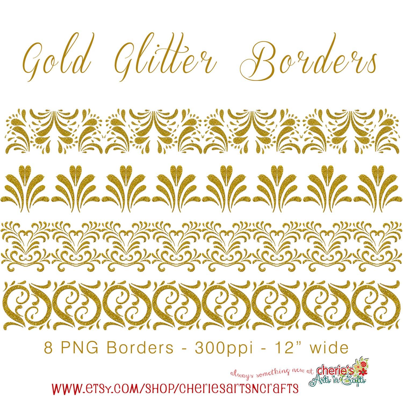Grenzen von Gold-Glitter Glitter ClipArt digitale   Etsy