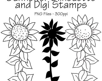 Sunflowers Digi Stamps and Silhouette, Sunflowers Silhouette, Sunflowers Lineart, Lineart, Silhouettes, PNG Files