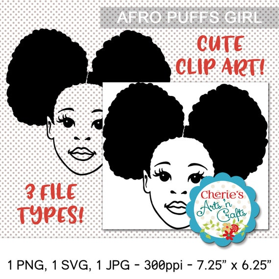 Pleasing Afro Puffs Little Girl Natural Hair Silhouettes Little Etsy Natural Hairstyles Runnerswayorg