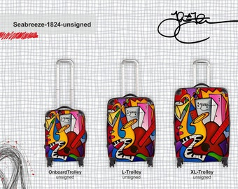 Abstract art luggage Modern Travel Decor suitcases by Fidostudio