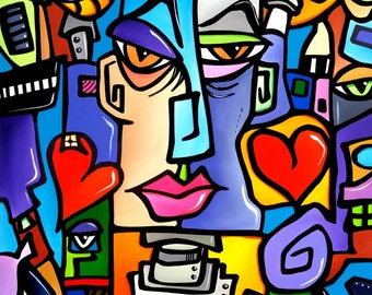 Abstract art canvas print Modern pop large collage painting by Fidostudio