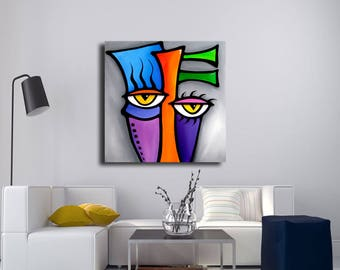 Abstract face canvas print Original Modern pop Art Contemporary painting by Fidostudio - Peepers