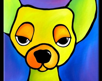 Dare Me - Original Abstract painting Modern pop Art Contemporary colorful portrait face green yellow dog decor by Fidostudio