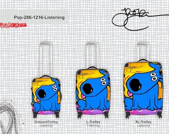 Abstract art luggage Modern Travel Decor Blue Dog suitcases by Fidostudio