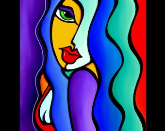 Abstract painting pop Art modern colorful purple blue yellow portrait face by Fidostudio