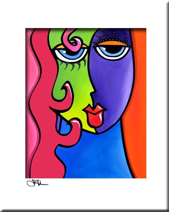 Abstract Painting Pop Art Print Contemporary Modern Colorful Etsy