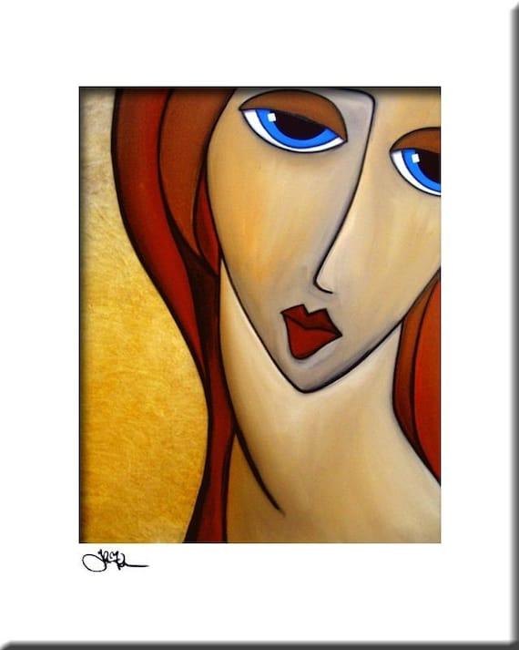 Peinture abstraite femme moderne pop Art print portrait coloré | Etsy