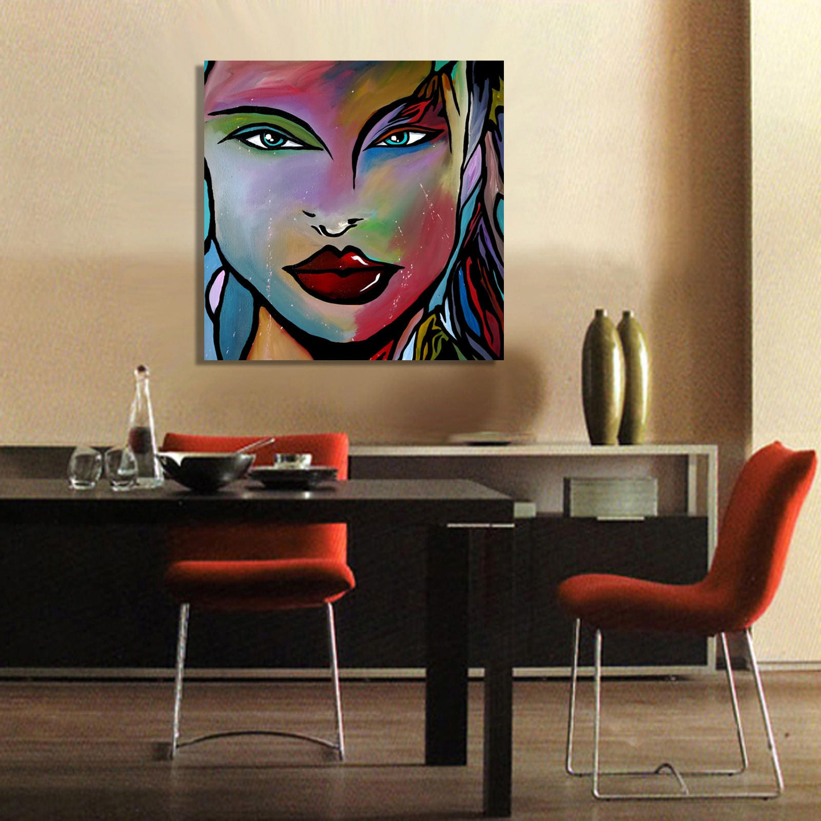 Abstract painting Modern original pop Art Contemporary woman