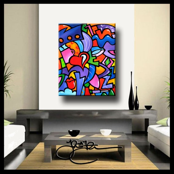 Abstract print from painting Modern Decor Woman HUGE Canvas WALL Art Fidostudio