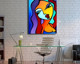Abstract canvas print Original Modern pop Art Contemporary by Fidostudio - Girl Like You