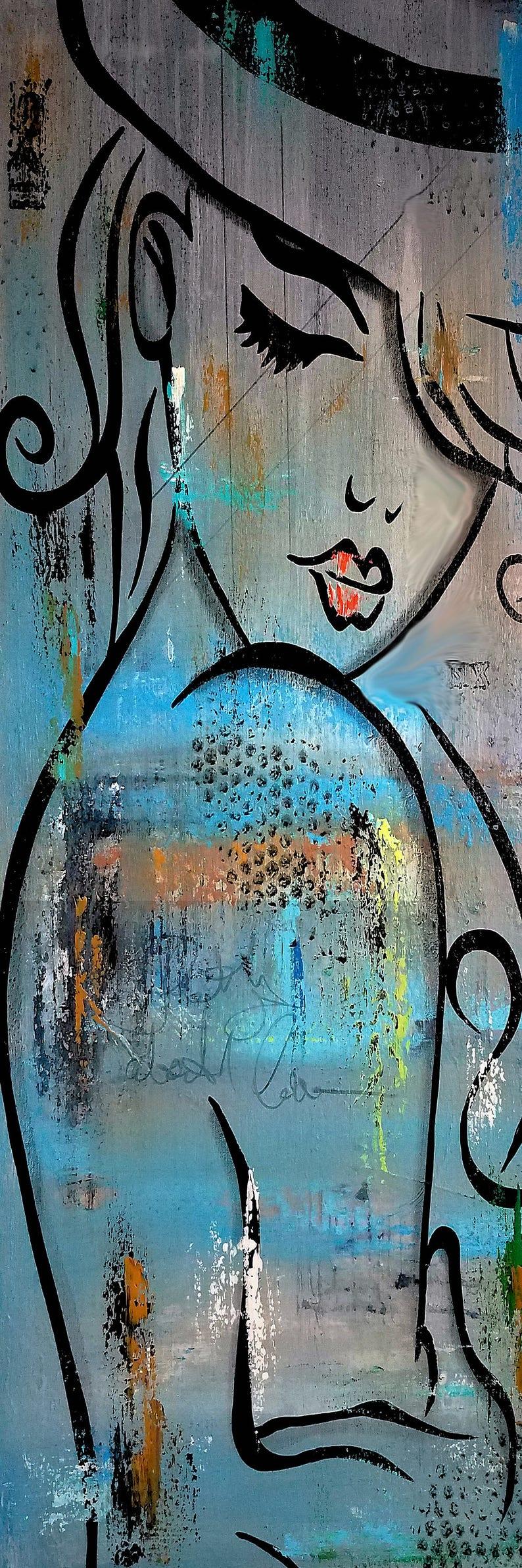 Moonlit artistic nude woman print. An emotional oil