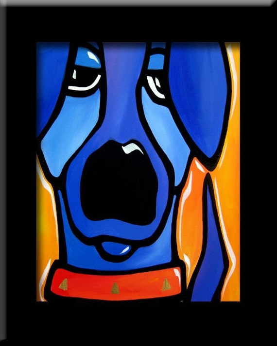 Abstract Painting Modern Pop Art Print Contemporary Blue Dog Etsy