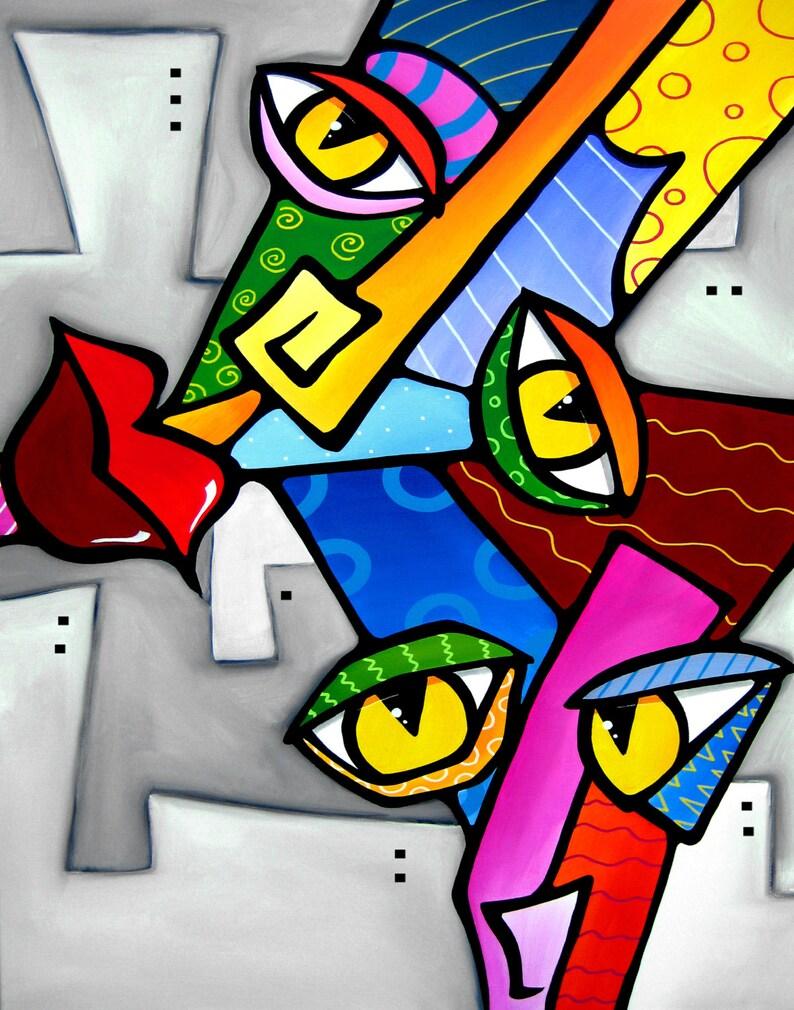 Peinture abstraite moderne pop Art imprimé contemporain coloré | Etsy