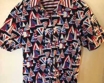 7f52100a1b Vintage sailboats USA American Flag button up cotton blouse Stars and  Stripes