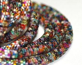 Nuru / Bead Crochet Rope Necklace or Bracelet / Colorful Multicolor Jewelry / Bold Metallic Industrial Necklace / Unisex Jewelry