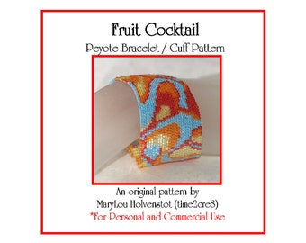 FRUIT COCKTAIL Peyote Cuff Bracelet Pattern / Beadwoven Jewelry Tutorial / PDF Digital Download / 3 for price of 2 / Multicolor Colorful
