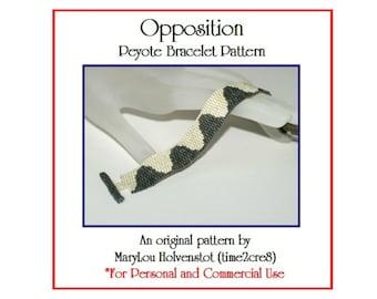 OPPOSITION Peyote Cuff Bracelet Pattern / Beadwoven Jewelry Tutorial / PDF Digital Download / 3 for price of 2 / Narrow Beginner Simple
